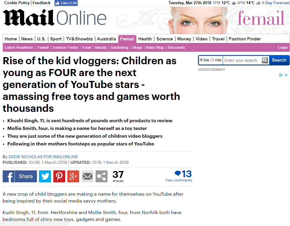 Rise of the kid vloggers